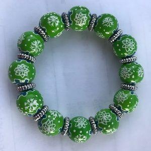 Green w White Snowflakes Angela Moore Bracelet